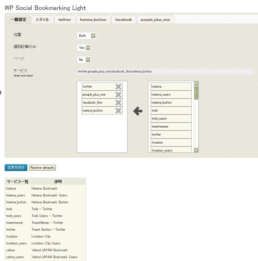 WordPressで投稿したブログにFacebookやTwitterのボタンをつけるプラグイン「WP Social Bookmarking Light」